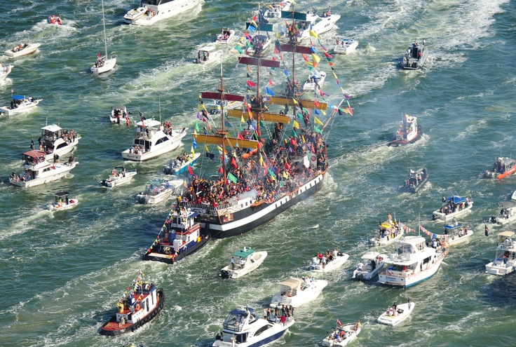 Gasparilla Pirate Invasion,Tampa.  In this annual re-enactment of Tampa's historic pirate invasion, the Gasparilla Flotilla – led by the Jose Gasparilla teeming from bow to stern and capstan to crow's nest with swashbuckling YMKG pirates – creates a spectacular sight as she heads up Seddon Channel towards downtown Tampa.