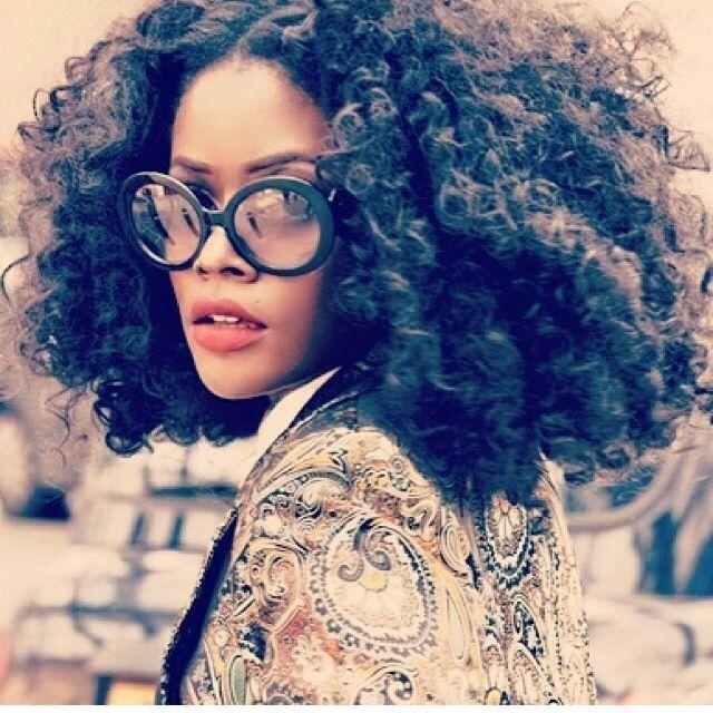 Natural Curly Afro Hair   Big Hair   Black Prada Sunglasses