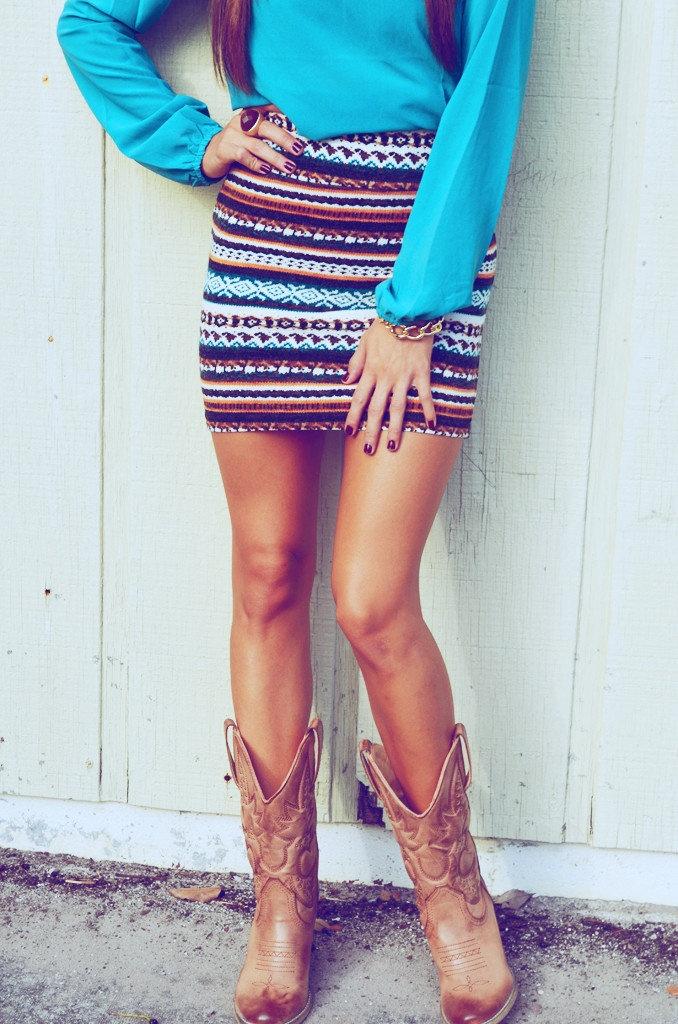 Southwestern Chic Skirt: Jade/Multi Colors | Hope's