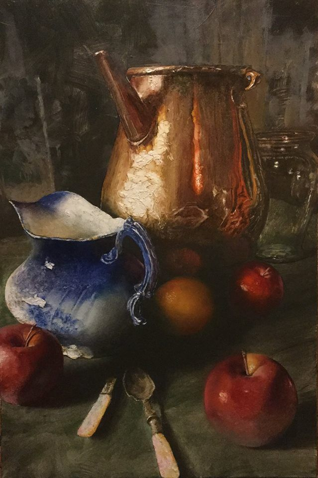 C.w. Mundy French Copper Sprinkler With Flow Blue Pitcher & Fruit oil on portrait grade stretched canvas 36x24