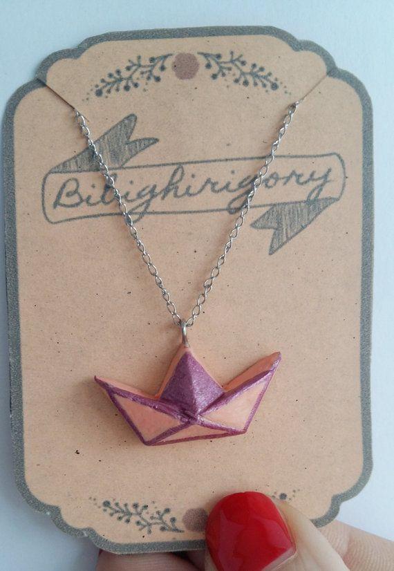 Collana Barchetta origami di bibighirigori su Etsy