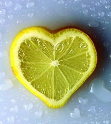 yellow lemon in heart shape
