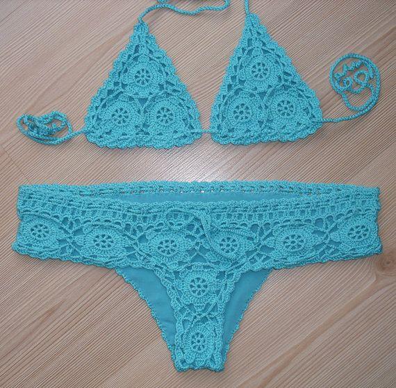 Crochet Turquoise Full Lined Sexy Bikini, Women Swimwear, Beach Wear, 2015 Trends !!! FORMALHOUSE