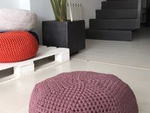 Circle-Puf crochet lila-Cojín suelo-pouf 40x20 cms
