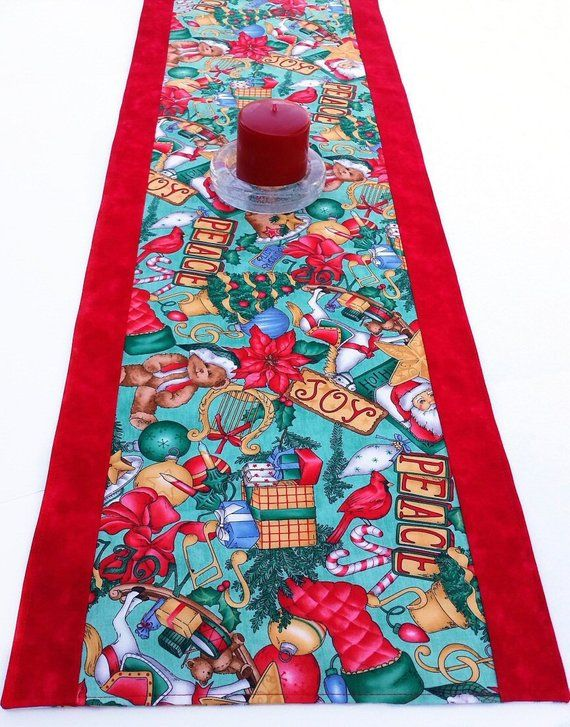 Reversible Christmas Table Runner With Retro Style Large Print Christmas Fabric Find Me At Ter Christmas Table Runner Christmas Fabric Christmas Table Toppers