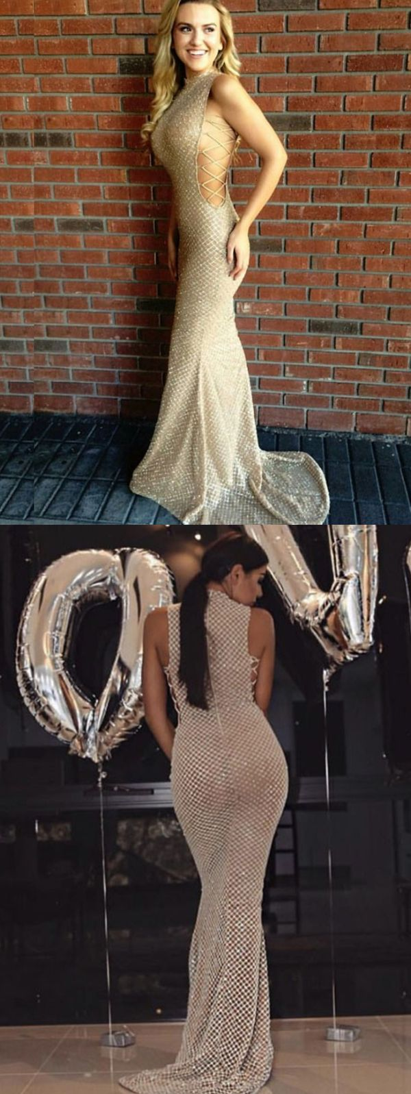 modest light gold mermaid prom dresses, elegnat high neck evening gowns with sequins, chic criss cross straps party dresses