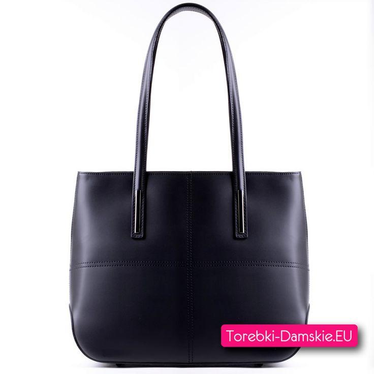 Torba A4 ze skóry licowej, czarna pojemna na ramię, nowy model http://torebki-damskie.eu/skorzane/1401-skorzana-czarna-pojemna-torba-damska.html