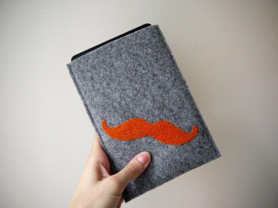 orange mustache kindle cover! felt handmade kindle sleeve. kindle paperwhite cover. wool ereader case. gray kindle etui. felt kindle cover. wool cover.