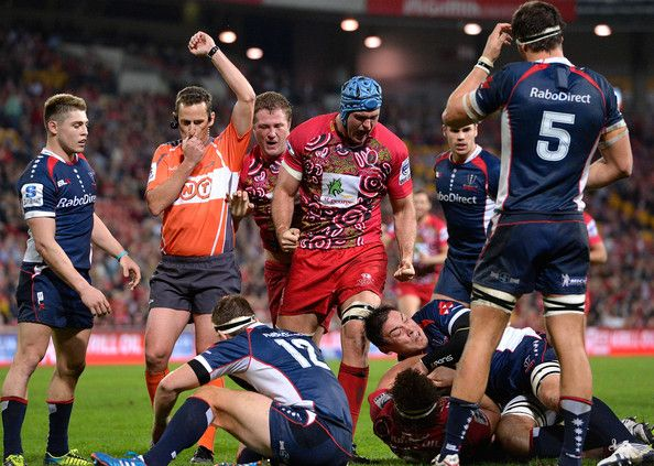 James Horwill of the Reds celebrates after team mate Jake Schatz scores a try during the round 16 Super Rugby match between the Reds and the Rebels at Suncorp Stadium on June 1, 2013 in Brisbane, Australia.