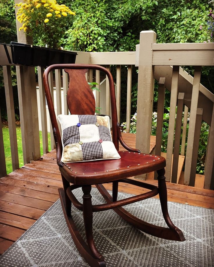 Vintage wood rocker, leather seat, nail head trim and
