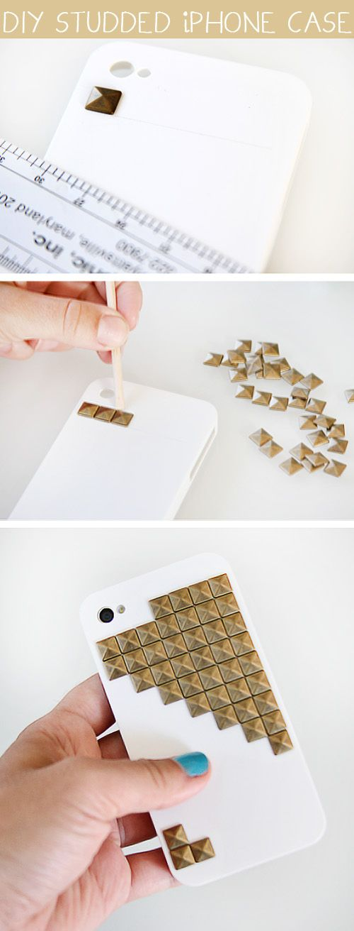 "Studded Phone Case:  All you need is a phone case, iron on studs w/ no ""legs"", Krazy glue, ruler and pencil. Draw the lines for your design then adhere studs accordingly. Ta-da! enjoy your affordable creation ;)"