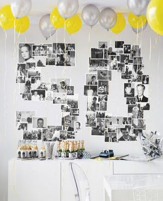 """""""This photo collage arranged in a giant """"50"""" makes a terrific focal point for a 50th birthday party. Sticking with all black and white images surrounded with pops of colors in the balloons makes a lot of little items look organized and focused for maximum impact."""""""
