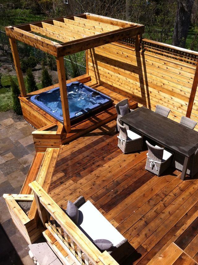 Hot Tub Ideas Backyard hot tub backyard landscape hot tub hottubfireplace Semi Detached Home Small Back Deck Idea Minus The Hot Tub Though Back Deck Ideasbackyard