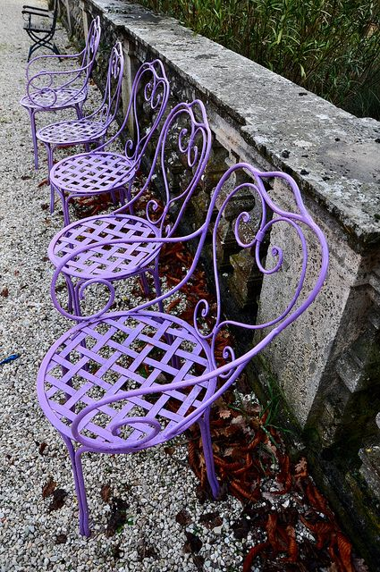 Row of purple chairs inspiring you to spray your chairs with the new Amy Howard At Home purple lacquer colors