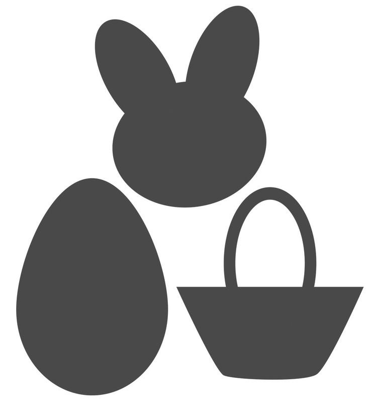 des formes sur le thème de Pâques, pour créer une banderole, ou découper cartes ou pages de scrap, ou encore pour créer masks et pochoirs...
