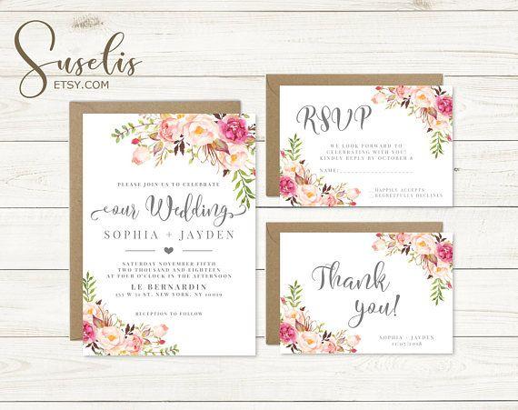 Wedding Invitation Suite Rsvp Thank you Floral Romantic