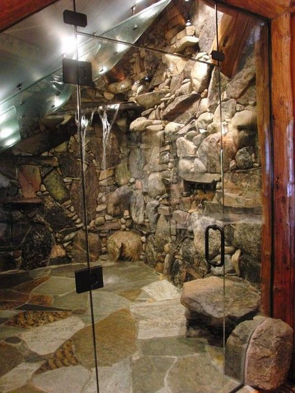 """Will and Lola's rock and cobblestone master shower in """"Checkered Hearts"""""""