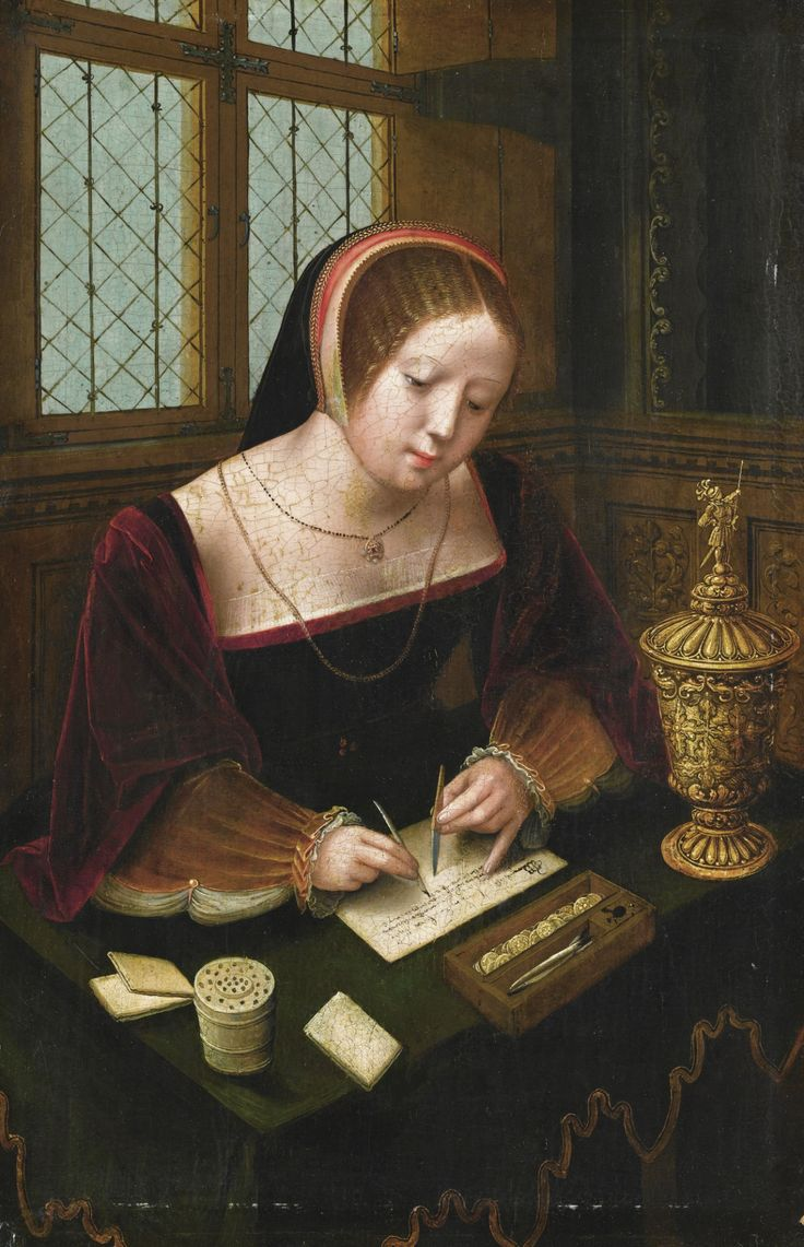 .:. A Lady Writing at a Desk. The Master of the Female Half-lengths (active in Antwerp during the first half of the 16th century). Oil on panel.The engaging subject is entirely typical of this unknown master, who seems to have specialised in small-scale panels in a courtly style depicting elegant women reading, writing or making music in intimate interiors. The presence of the gilt cup and cover led Friedländer and others to suggest that the young ladies represented the Magdalene.