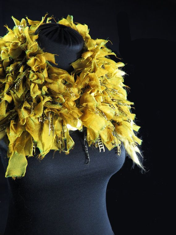 Designer's knitted choker scarf, pure wool and alpaca, frayed silk ribbons, fancy ribbons, yellow green, hand-made by kalani