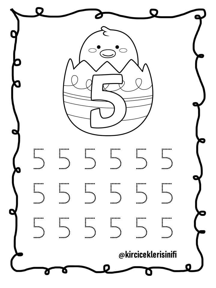 5 Rakami Ogrenme Okul Oncesi Calisma Cizelgeleri Matematik