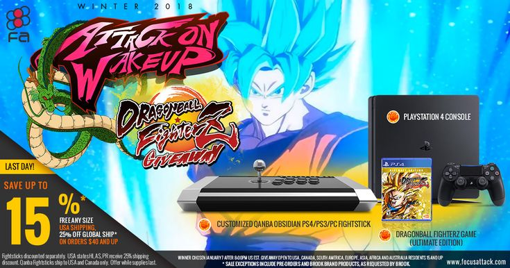 It's our Attack on Wakeup EVO Winter 2018 Sale! Save 15% storewide January 5-7. Spread the word for a chance to win a Playstation 4 console, Dragon Ball Z FighterZ Ultimate Edition and more!