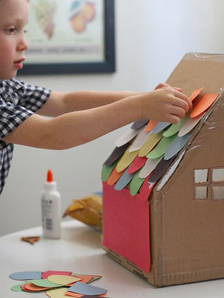 DIY Cardboard Box House via Say Yes to Hoboken. For my daughter's lost girl party... a little house in the wilderness, filled with.... candy?