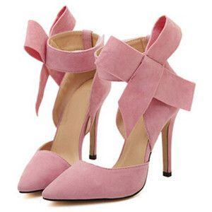SheIn(sheinside) Pink With Bow Slingbacks High Heeled Pumps