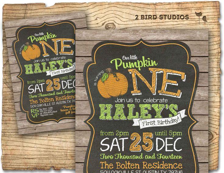 Vintage little pumpkin birthday party invitation - Pumpkin birthday invitation - rustic chalkboard invitation - printable pumpkin invitation by 2birdstudios on Etsy https://www.etsy.com/listing/204534114/vintage-little-pumpkin-birthday-party