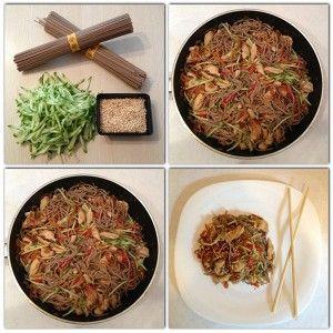 Гречневая лапша по-японски с курицей и овощами