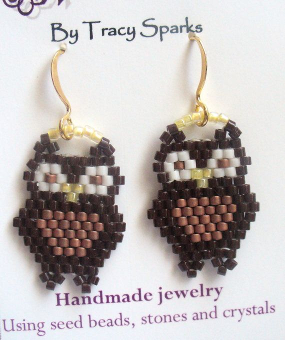 Dangle Owl Earrings with Delica and Seed Beads
