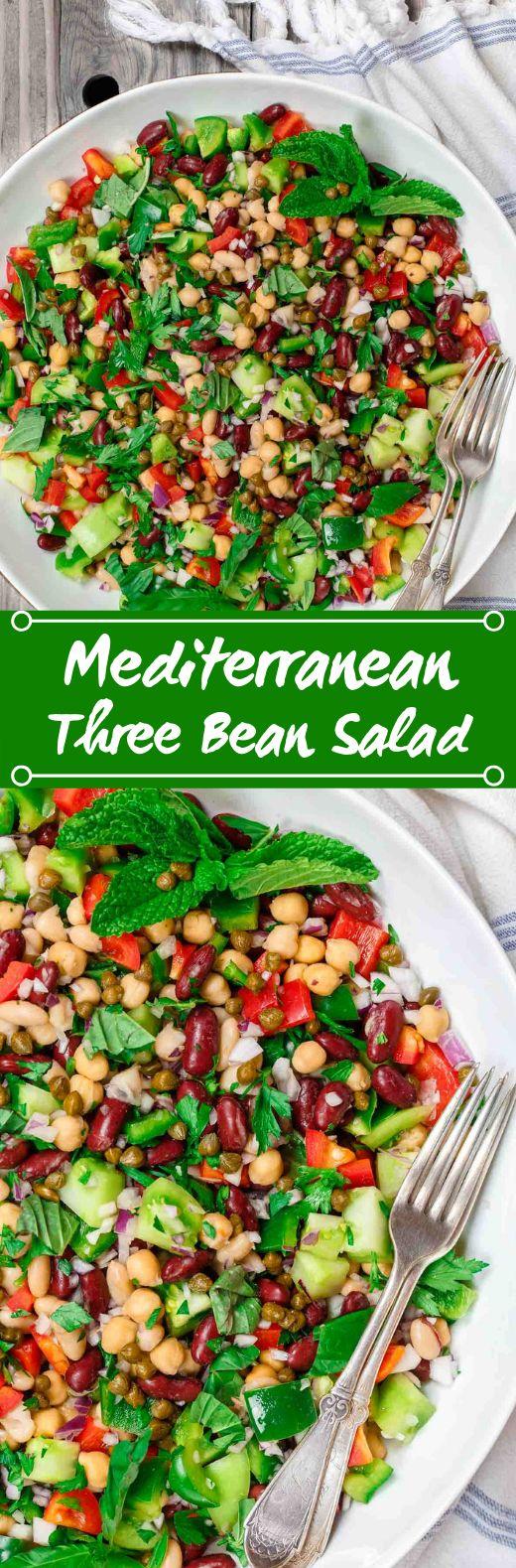Mediterranean Three Bean Salad #vegan #salad