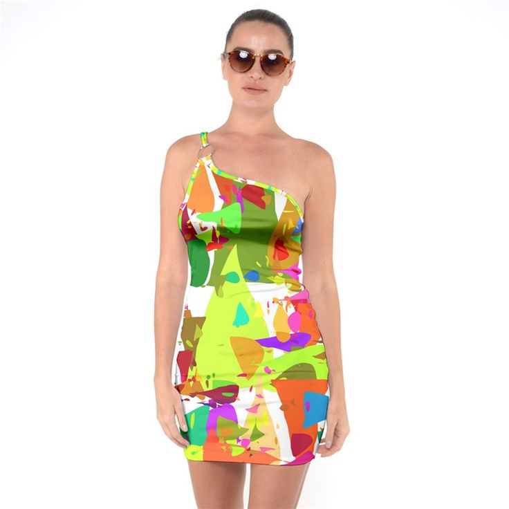 Colorful Shapes On A White Background One Shoulder Ring Trim Bodycon Dress