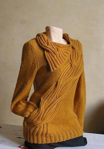 Пуловер цвета горчицы (Вязание спицами)   Журнал Вдохновение Рукодельницы