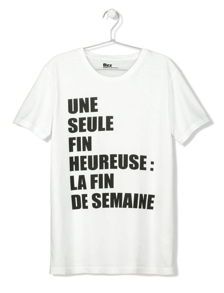 T-shirt manches courtes message fin de semaine