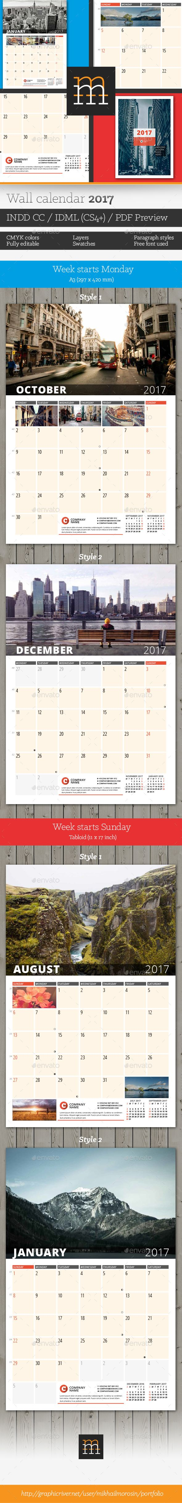 Wall Calendar 2017 Template InDesign INDD. Download here: https://graphicriver.net/item/wall-calendar-2017/16955397?ref=ksioks