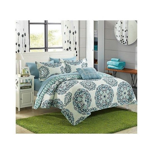 Miranda Microfiber Printed Medallion Reversible with Geometric Printed... ($154) ❤ liked on Polyvore featuring home, bed & bath, bedding, quilts, green, medallion bedding, geometric pillow cases, medallion sham, geometric bedding and green pillow cases