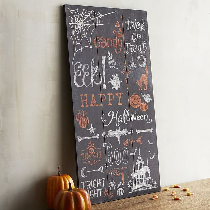 Trick or treat, smell my feet, give me something good to—EEK! With its festive hues and spooky catch phrases, our wooden chalkboard sign is a great way to welcome guests to your next Halloween soiree.