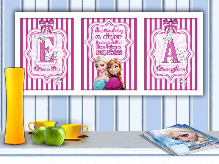Frozen - Set of 3 Personalized Printables - Sisters Bedroom Wall Art