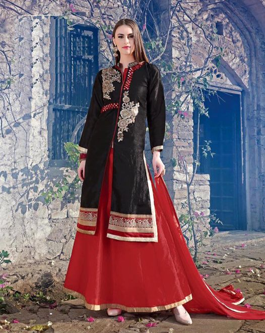 Black BhagalPuri Silk Top With Stone Work, Hot Red Free Size Stitched Lehenga with Pure Chiffon Dupatta Decorated With Lace All Around. #salwarsuits #partywearsuits #designersuits #ladiessuits #silksuits #lehenga #designerlehenga