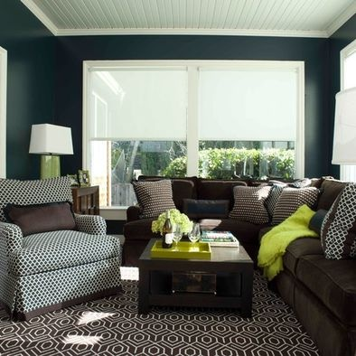 The Combination Of Beautiful Chocolate Brown Navy Blue High Gloss Walls And Lime Green Really Pops