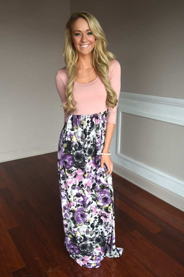 Peach & Lilac Maxi Dress – The Pulse Boutique $39