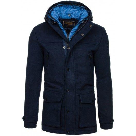 Elegantný pánsky kabát tmavo modrej farby - fashionday.eu