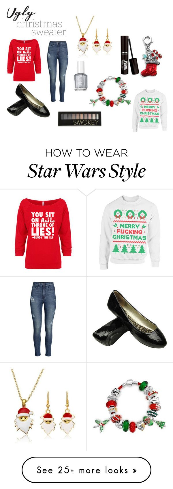 """""""Ugly Christmas Sweater Contest"""" by kayla-seely on Polyvore featuring H&M, Bling Jewelry, Essie, Forever 21, contest, contestentry and uglychristmassweater"""