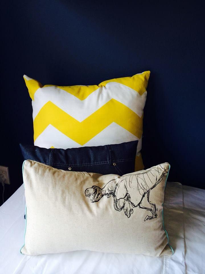 Custom printed dinosaur cushion & bright yellow chevron print. @Nicky Day.net