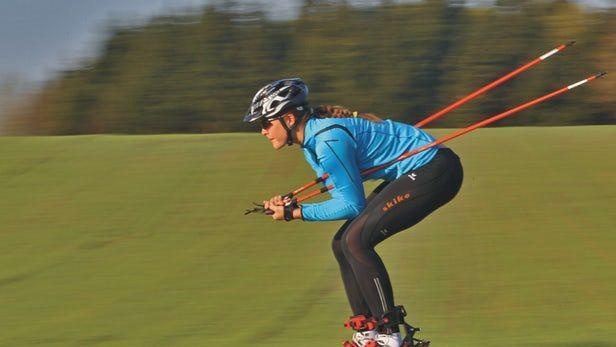 Nordic Skiing On The Street With Skike Bike Skates Nordic Skiing