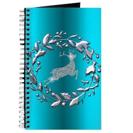 Silver Christmas Reindeer on Teal Journal on CafePress.com