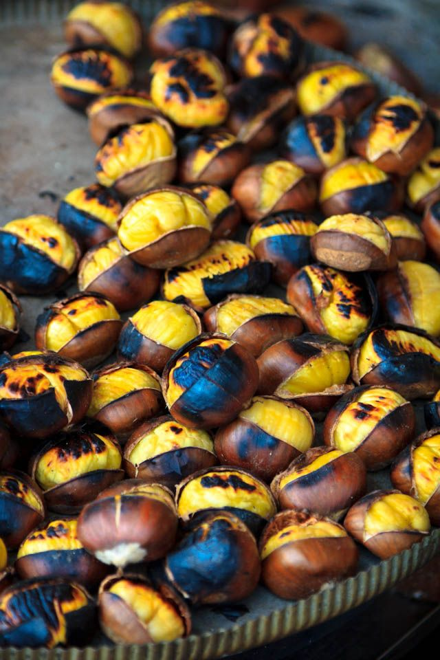 Tasty roasted chestnuts! Street food, Istanbul, Turkey