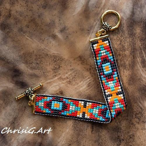 Armband parel werk rood zwart turquoise oranje Maya etnische