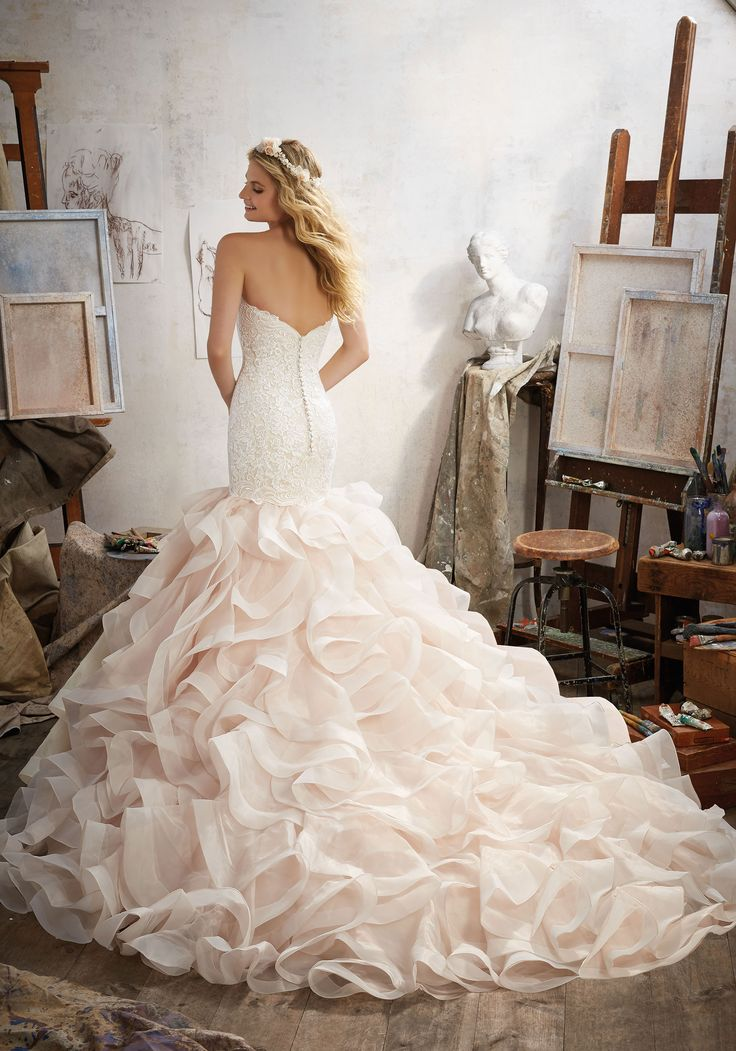 Mermaid Wedding Dress Featuring Allover Embroidery On Net With Horsehair Edged Flounced Organza Skirt