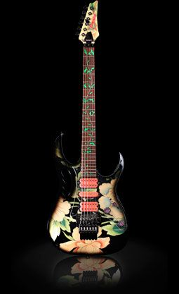 Rock Royalty Custom Ibanez JEM77FP Steve Vai Signature Guitar with Anniversary Floral Pattern